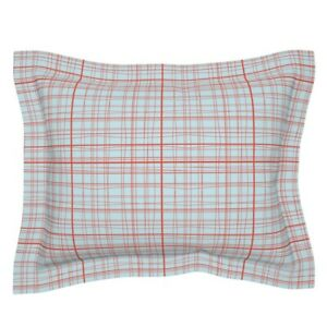 Plaid Red And Blue Holiday Christmas Shabby Pillow Sham by Roostery