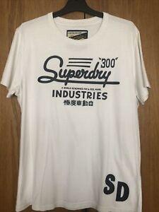 Superdry White T-Shirt Size X-Large Mens Short Sleeve