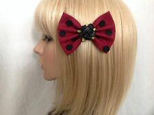 Black burgundy polka dot rose hair bow clip rockabilly pin up girl vintage chic