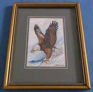 VINTAGE CASH BALD EAGLE AMERICA BIRD OF PREY WOVEN SILK PICTURE FRAMED ENGLAND
