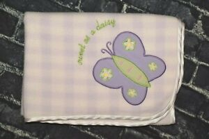 Lambs & Ivy Purple Lavender White Checks Sweet As A Daisy Butterfly Baby Blanket