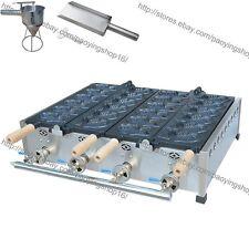 Commercial Nonstick LPG Gas 12pcs Fish Waffle Taiyaki Machine Maker w/ Tool Set
