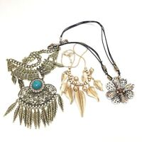 Lot of (3) Vintage Costume Jewelry Necklaces Adjustable Lengths #DA486