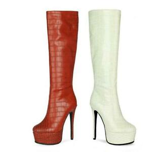 Women's Gothic Round Toe High Heel Platform Mid-Calf High Boots Shoes 43 44 45 L