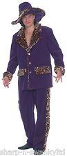 Mens Purple Animal Print Trim 1920s Pimp Gangster Fancy Dress Costume Outfit