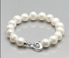 White Pearl Necklace + Bracelet Huge Natural Aaa 10-11Mm South Sea