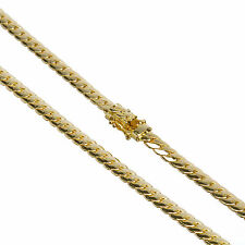 Men's Cuban Link Chain Necklace Box Clasp Safety Lock 14K Gold Plated 6 mm / 26""