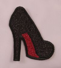 Embroidered Black & Red Glitter Stiletto Heel Glam Shoe Patch Applique Iron On