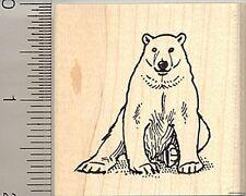 Polar Bear rubber stamp E9518 wood mounted