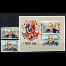 Îles Falkland 1974 Churchill 2 valeurs & Feuille SG 305-306 & MS 306 MLH (AR130)