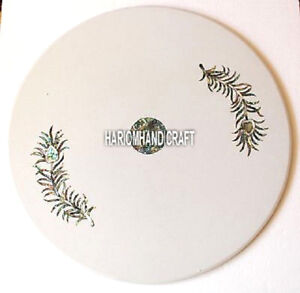Pauashell Stone Marble Coffee Round Table Top Inlay Beautiful Mosaic Decor H4044