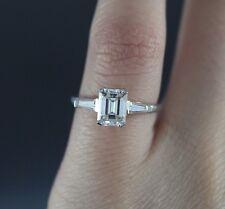 $16,800 GIA LEBOLT Platinum 1.06 Emerald Cut H VVS2 Diamond Engagement Ring Band