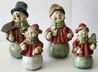 Collectible Porcelain Snowman Family Christmas Decor Holiday Village Carolers
