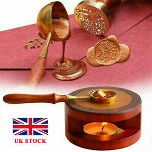 Vintage Wax Seal Stamp Warmer Furnace Stove Pot Melting Spoon Kit Stamp Tool UK