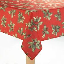 St Nicholas Square Red Christmas Holly Berries Fabric Tablecloth Round 70 Inches