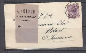 VICTORIA, 1903 Tatt's cover with Label attached, 2d., Melbourne cds.