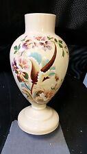 Antique Victorian Bohème Grand peint main émaillé opaque art glass vase