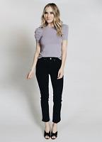 MCGUIRE DENIM Valetta Straight Satin Side Stripe Ankle Jeans Black Tie $248 #51