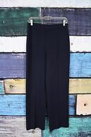 St. John Basics Dark Navy Blue Santana Knit Straight Leg Pants 6 SMALL S USA