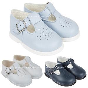 BABY BOYS SHOES T-BAR WALKING CHRISTENING WEDDING HARD SOLE WHITE NAVY BLUE SHOE