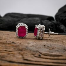 Women Cubic Zirconia Stud Earring Ruby Stud Earrings Paved Cute Studs for ears
