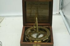 Vintage Maritime Solid Brass Sundial Compass Nautical Marine With Wooden Box