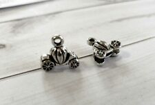6 Pumpkin Charms Pumpkin Carriage 3D Antiqued Silver Fairy Tale Charms