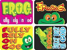 100 f.r.o.g. religieux dieu récompense stickers 32mm x 24mm - 4 designs