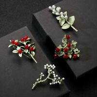 Women Enamel Red White Pearl Leaves Branch Plant Brooch Pin Wedding Jewelry Gift