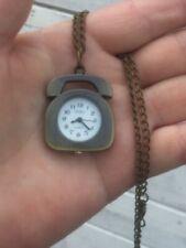 Telephone pocket watch necklace locket  bronze tone