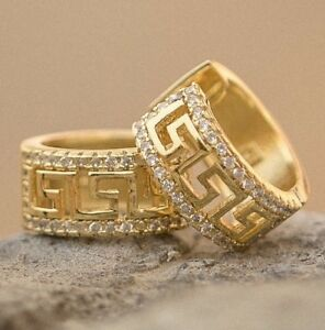 Men's 14k Gold Sterling Silver Iced  Lab Diamond Greek Key Huggie Hoop Earrings