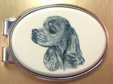 Money Clip Oval Barlow Scrimshaw Carved Painted Art Cocker Spaniel Silver 539485
