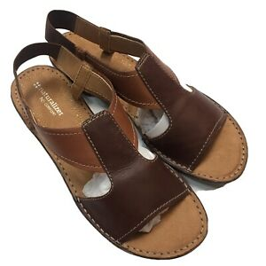 Naturalizer N5 Comfort Shoes Ringo Sandals Women's 9.5W Open Toe Brown Leather