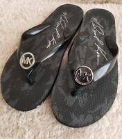 Michael Kors Womens Black Jet Set Rubber Flip Flop Thong Sandals Size 6M