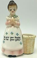 Enesco Kitchen Prayer Lady Mother in the Kitchen Pink Toothpick Holder Basket