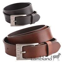 """Milano Mens / Ladies 1"""" (25mm) Grained Leather Belt- Black, Brown"""