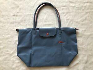Longchamp Le Pliage Nylon Tote Horse Embroidery Handbag sky blue L