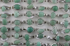Newest wholesale lots 8pcs Nature Green Aventurine stone silver p ring