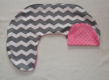 Gray Chevron and Pink Minky Dot Nursing Pillow Cover Fits Boppy  CHOICE OF MINKY