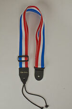 Guitar Strap RED WHITE BLUE STRIPES Nylon Fits All Acoustic & Electric Made USA
