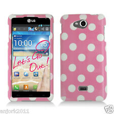 LG Spirit 4G MS870 Metro PCS Snap-On Case Cover Accessory White Pink Dots