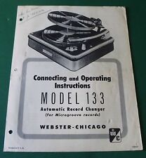 Webster Electric Model 133 Automatic Record Changer Operating Instructions