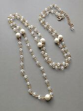 Long clear crystal glass pearl bead necklace . gold tone flapper bridal jewelry
