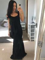 Black Dress Bow Ruffle Ball Gown Long Fishtail Maxi Evening Prom UK❤