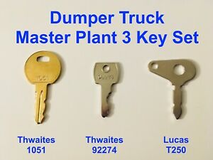 3 Key Master Plant Dumper Truck Excavator Set Thwaites Lucas JCB Benford Terex