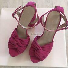 LOEFFLER RANDALL Platform Sandals 40EU Buckle Arbella Pink Open Toe Suede NIB