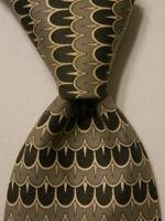 HERMES 499 IA Vintage Men's Silk Necktie FRANCE Luxury Geometric Green/Ivory GUC