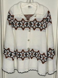 Vintage Women's Off White Brown Black Montgomery Ward Sweater Cape Size Large