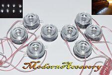 8 x Round LED White Light Undercar Underbody Glow Decoration Strobe Lamp New