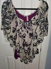 Sweet Pea Large Black purple Layered Flutter Sleeve Top Shirt